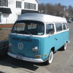 Blue van, front view