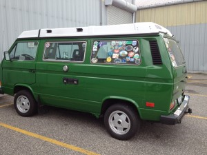 Bright green van parked in greenport, new york