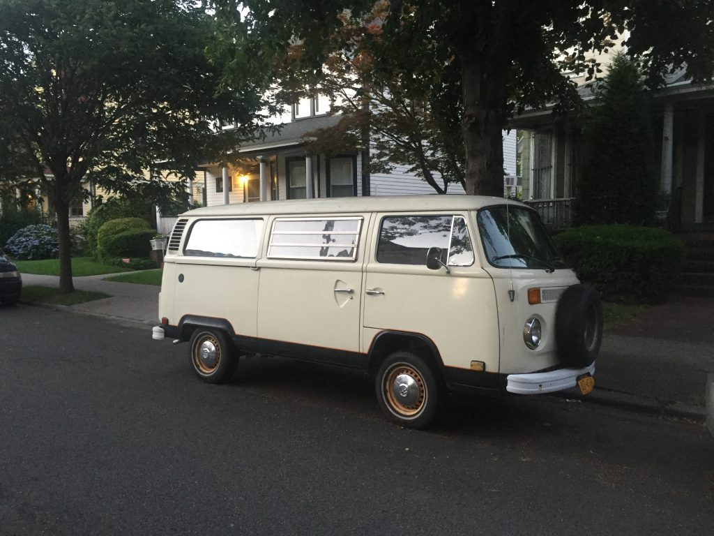 white t2 van front angle