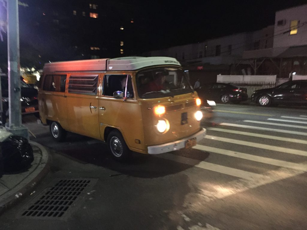 yellow vw t2 van on street