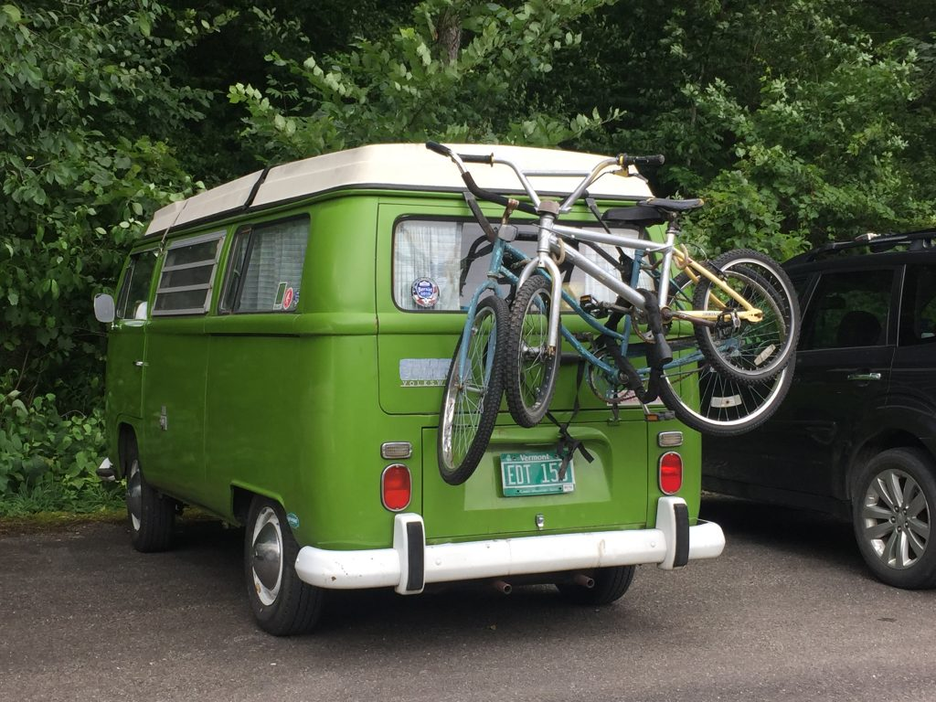green t2 van parked with bike rack